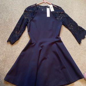 Navy lace skater skirt dress